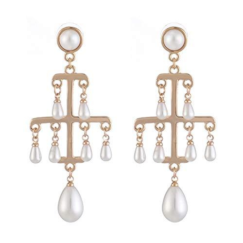 Ruby569y Pendientes colgantes para mujeres y niñas, estilo barroco vintage, con perlas y perlas