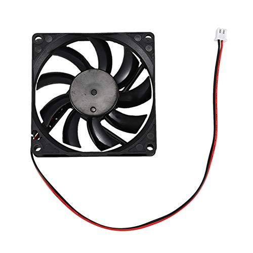 QWXZ Ventilador de extracción DC 12V 0.18A Conector de 2 Pines PC Caja de computadora Fan de enfriamiento 80x80mm Instalación Sencilla y silenciosa (Color : Black)