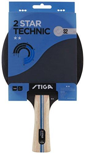 Stiga 2-Star Technic, Concave, Racchetta da Ping Pong Unisex-Adulto, Nero/Rosso, Taglia Unica