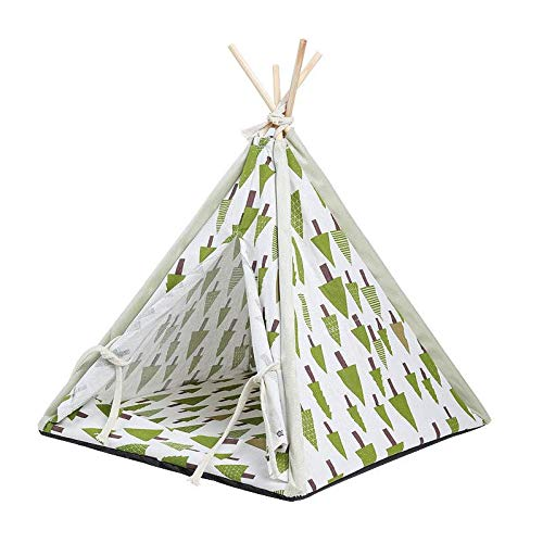 MISLD Pet Tipi Indian Tent Kattenbed Hondenbed Warm Pet Houses Portable Pet Tipi met kussen voor katten en honden groen
