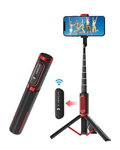 mejores Palos Selfie BlitzWolf Palo Selfie Trípode con Control Remoto Bluetooth, Selfie Stick Extensible de Aluminio para iPhone XS MAX/XR/XS/X/8/8P/7/7P/6, Galaxy S10/S9/S8, Android, Huawei, Xiaomi y etc.