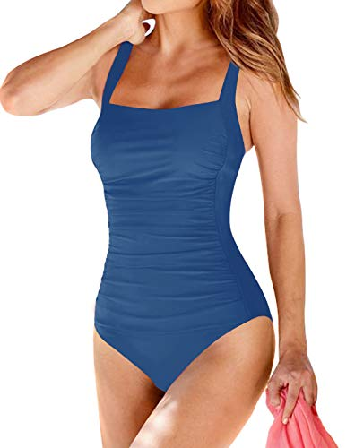 Upopby Women's Vintage Padded Push up One Piece Swimsuits Tummy Control 1 Piece Bathing Suits Plus Size Swimwear Steel Blue 12