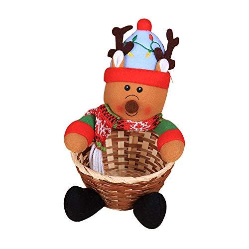 Canastas de dulces navideñas, Almacenamiento de dulces navideños, Caja de almacenamiento de dulces navideños, Papá Noel Muñeco de nieve Elk Cesta de mimbre Regalo grande C