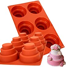 2 Sets 6 Cavities Mini 3 Tier Cake Pan, Multi Tiered Silicone Cupcake Mold DIY Round Coaster Non Stick Molds for Christmas Cake Pudding Cookie Chocolate Baking Pan Home Made Baking