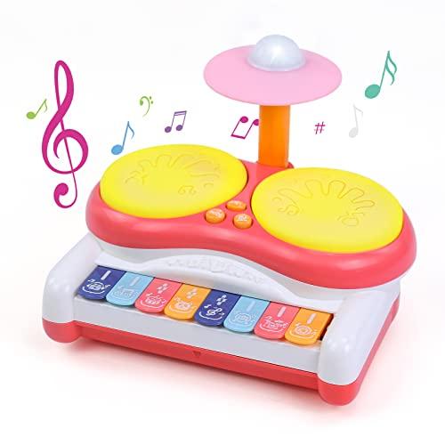 Kzai Piano Infantil Tambor Bebe 2 en 1 Instrumentos Musicales Infantiles Juegos Educativos Juguetes Niños 3 4 5 6 Años