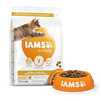 IAMS Vitality - Croquettes Super Premium Chats Adultes et Séniors Anti Boules de Poils - 100% Complètes et équilibrées - Au Poulet - Sans OGM Colorant Arôme Artificiel - Sac refermable de 1,5 kg