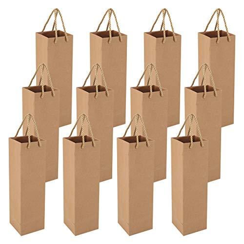 Heyu-Lotus 12 Pack Geschenktüten für Wein, Recycelbarer Wein Champagner Geschenktasche für Weihnachten, Hochzeit, Geburtstag (Braun)