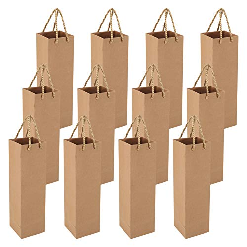 Heyu-Lotus 12 bolsas de regalo para vino, vino, champán, papel de estraza reciclable, para Navidad, boda, cumpleaños