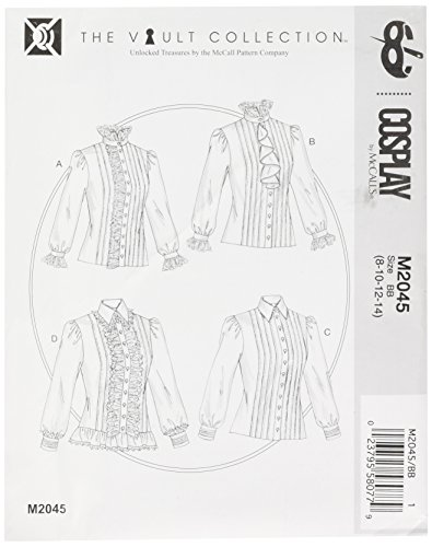 Cosplay door McCall's Cosplay M2045 BB,geplooide en gegolfde blouses, maten 8-14, klok, multi/kleur, 17 x 0,5 x 0,07 cm