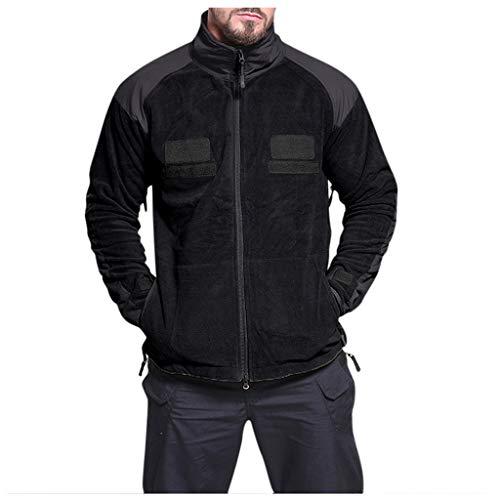waotier Chaquetas Cazadora para Hombre Superficie Esponjosa Deportes Al Aire Libre Grueso cálido Terciopelo Color sólido Blusa de algodón Abrigo