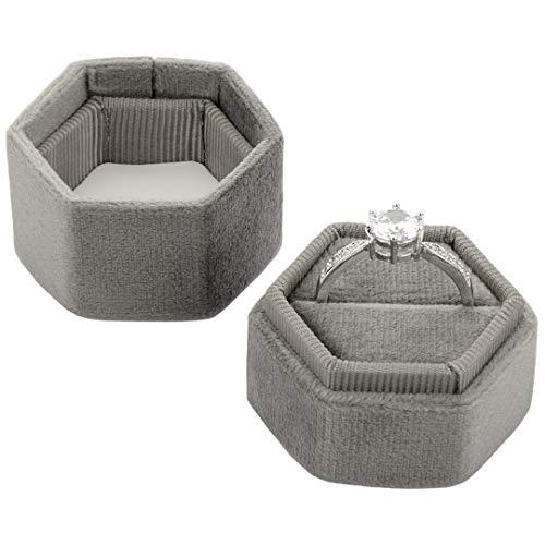 Koyal Wholesale Caja de terciopelo para anillos de boda, hexagonal, estilo vintage, con tapa desmontable, 2 piezas, para anillos de compromiso, idea moderna (gris pizarra)