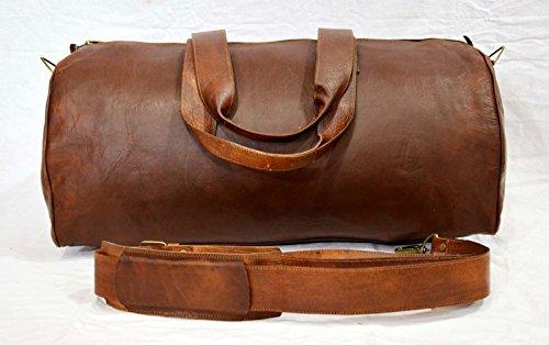 Maletín de cuero auténtico vintage para equipaje de viaje, bolsa de gimnasio