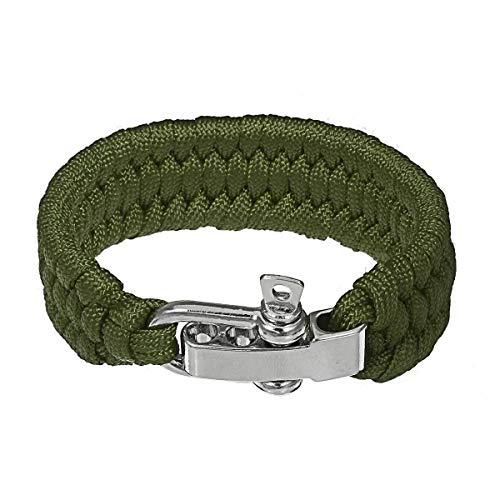 Kit de herramientas multiherramienta de supervivencia Paracord pulsera de rescate paraguas cuerda de emergencia cuerda paracaídas supervivencia cuerda 25 cm regalos para hombres (color: verde)
