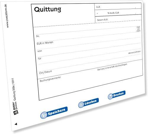 AVERY Zweckform 302e Quittung mit MwSt.-Ausweis (von Rechtsexperten geprüft, mit Netto- und Bruttobetrag, MwSt. separat ausgewiesen) [PDF-Download]