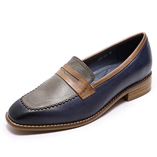 Mona flying Women s Perforated Leather Penny Loafers Casual Flats Shoes Square Toe for Ladies Women Girls Blue-Grey