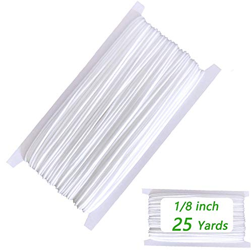 Elastic String for Masks - Elastic Bands for Sewing 1/8 inch, 25 Yards Elastic Cord Heavy Stretch High Elasticity Knit Elastic Band for Sewing, Making Masks DIY, White