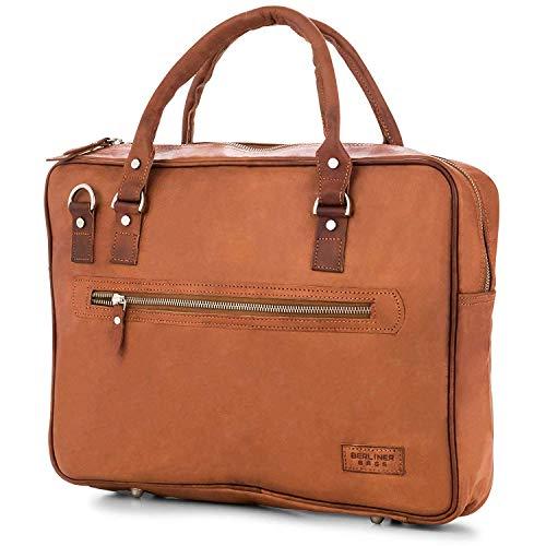 Laptoptasche Berliner Bags Madrid mit RFID Schutz Leder 15 Zoll Aktentasche Businesstasche Umhängetasche Vintage Braun Herren Damen