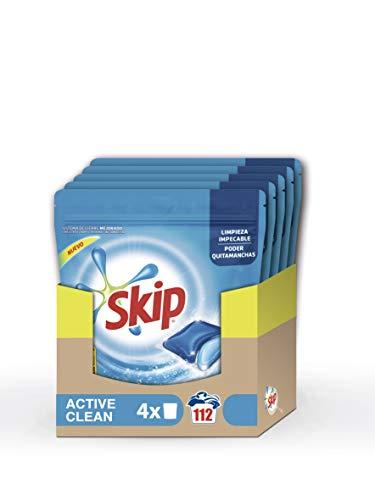 Skip Active Clean Detergente Cápsulas para Lavadora - Paquete de 4 x 28 lavados - 112 lavados