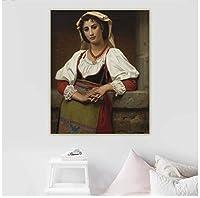 HuguesMerle《ナポリの少女》キャンバスアート油絵アートワークポスター画像壁の背景装飾家の装飾-60x80cmフレームなし