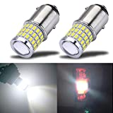 iBrightstar Newest 9-30V Super Bright Low Power 1157 2057 2357 7528 BAY15D LED Bulbs with Projector Replacement for Back Up Reverse Lights or Tail Brake Lights, Xenon White(6500K)