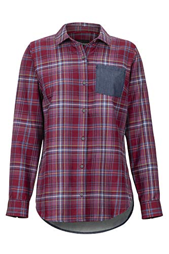 Marmot Damen Wm's Lakota LTWT Flannel LS Langärmliges Outdoor-Hemd, Wander-Shirt Mit Uv-Schutz, Atmungsaktiv, Claret/Storm Chambray, S