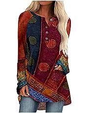 Damska bluzka w stylu boho guziki okrągły dekolt topy na co dzień z długim rękawem spersonalizowane koszule na co dzień