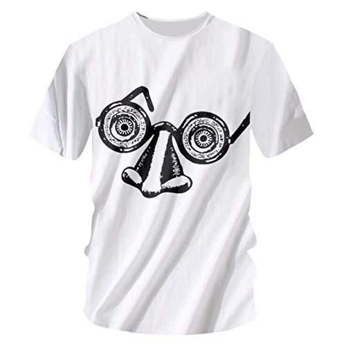 T-Shirts,Herrenstraße Sommerkleidung Augen Nase Muster T-Shirt Kurzarm Rundhalsausschnitt Lockeres Neutrales Weiß 7XL