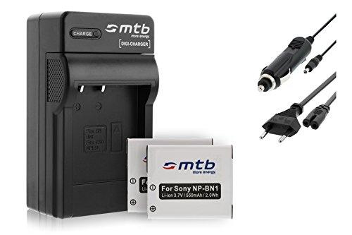 2 Akkus + Ladegerät (KFZ, Netz) kompatibel mit NP-BN1 für Sony Cyber-Shot DSC-TX100V, W710, W830, WX80, WX220, QX100. (s. Liste)