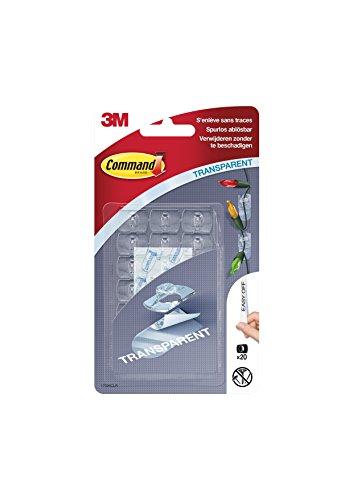 Command 3M 17026CLR - Clips adhesivos de tamaño mini (20 clips con 24 tiras adhesivas, desmontable), transparente
