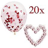 20 Globos de Confeti Corazón Rojo, Decoración Romantica para el Día de San Valentín Bodas Nupcial Aniversario y Compromiso