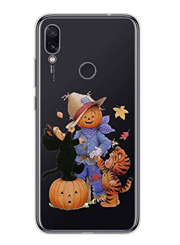 Oihxse Compatible pour Samsung Galaxy J6 Plus 2018 Coque Silicone Ultra Mince TPU Souple Transparent Housse Citrouille Mignon Motif Protection Etui Anti-Scratch Bumper Cristal Case (Homme Citrouille)