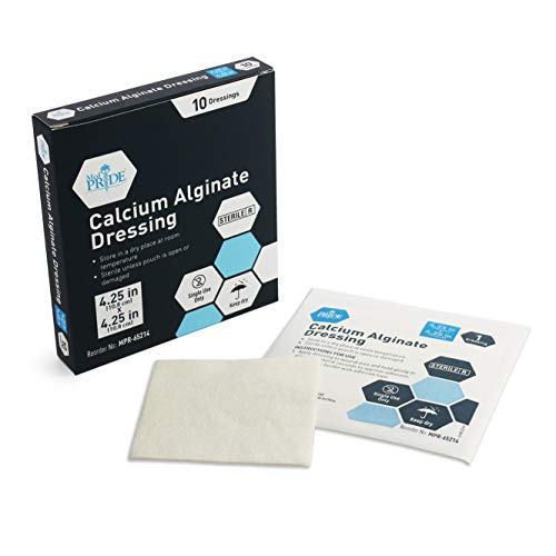 """Medpride Calcium Alginate Wound Dressing Pads  4.25"""" x 4.25"""" Patches  10-Pack  Antimicrobial  Non-Stick Padding  Sterile  Highly Absorbent & Comfortable  Flexible & Gentle on The Skin  Faster Healing"""