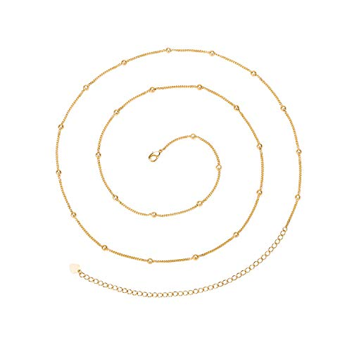 PEARLADA Minimalist Beach Bikini Body Chain 18K Gold Satellite Belly Chain Handmade Adjustable Jewelry for Women Girls Fashion Sexy Waist Chain