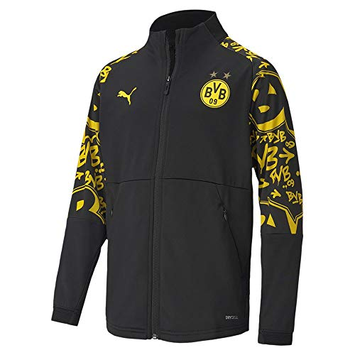 PUMA BVB Stadium Jacket Jr Trainingsjacke, Black-Cyber Yellow-Away, 152