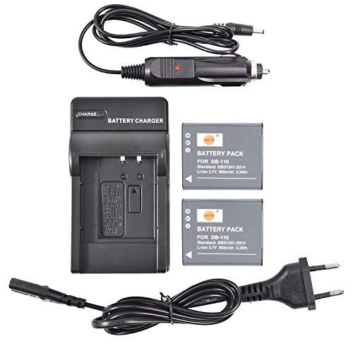 DSTE® 2-Pack Ricambio Batteria DB-110 + DC16E Caricabatteria Compatibile per Ricoh GR III,Ricoh WG-6,Ricoh G900,Ricoh G900SE Fotocamera(Non adatto per Ricoh GR Digital III)