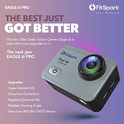 FitSpark Eagle i6 PRO Real 4K WiFi Action Camera 16MP Ultra HD 170° Wide-Angle Lens | External MIC Support | EIS | Distortion Correction | 40M Waterproof | Wireless Remote | All Accessories Kit