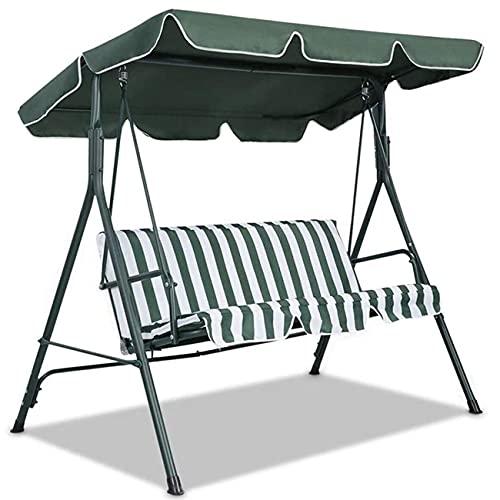 Columpio para patio trasero para 2 personas, amplio columpio de porche (verde oscuro, 142 x 120 x 15 cm) columpio de patio con toldo ajustable, columpio al aire libre para adultos, balcón, jardín