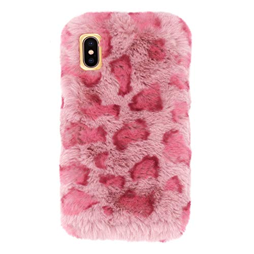 Fusicase for iPhone XR Leopard Plush Case Cute Furry Fuzzy Rabbit Fur Case Warm Soft Handmade Hair Lovely 3D Cover with Luxury Leopard Pattern for Girls Women Case for iPhone XR Pink