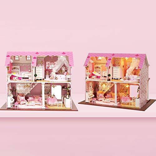 sympuk Hölzernes Puppenhaus mit Möbeln, Häuschen-Puppenhaus mit Musik-Bewegung, kreatives Raum-Spielzeug für Kindergeschenk