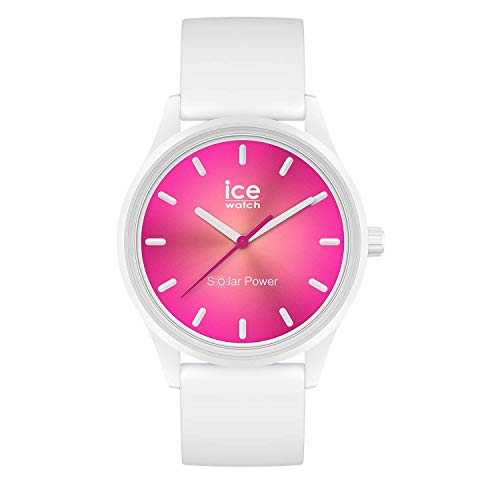 Ice-Watch ICE Solar Power Coral Reef - Reloj para Mujer con Correa de silicona, Blanco, 019030 (Medium)
