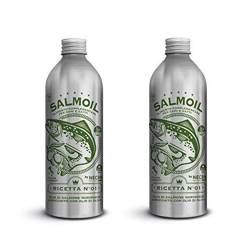 SALMOIL by NECON Pet Food Receta 1, alimento complementario/alimento para Perros y Gatos a Base de Aceite de salmón Noruego enriquecido de Aceite de Oliva 2x500ml, Rico en Vitamina E, Made in Italy