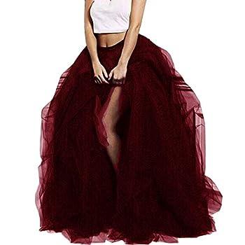 Lisong Women Maxi Tulle Floor Length Layered High Waist Spectial Occasion Skirt 5XL Burgundy