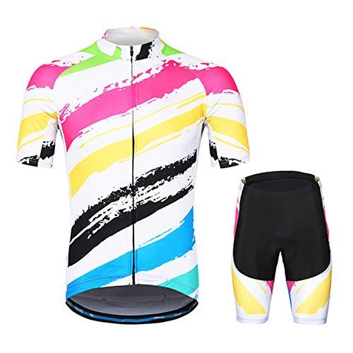 YRXWAN Herren Sommer Radtrikot Kurzarm Fahrrad Fahrrad Trikot Bergbekleidung MTB Uniform Team Shirts,G,XXL