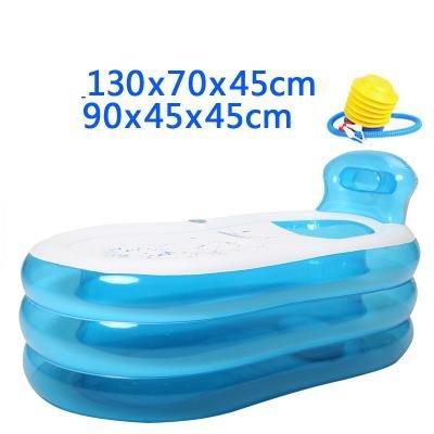 Baignoire Gonflable Taille Adulte Portable Home Spa Baignoire Confortable Qualité - 255 litres nouveau modèle et fermeture à glissière plus forte , blue , 130cm