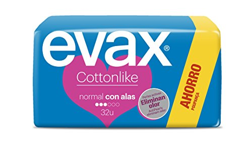 EVAX Cottonlike compresa normal con alas bolsa 32 uds