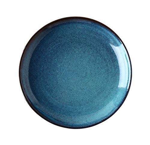 Dîner en porcelaine de Malacasa Assiettes à dîner artisanales Assiettes à salade Colourworks Assiettes rondes Assiettes à dessert en céramique sécuritaires Assiettes à soupe Glaçage de couleur bleue 2