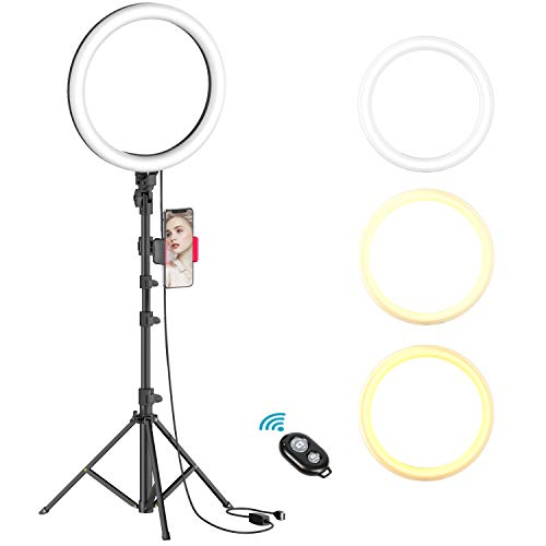 10' Selfie Ring Light with Tripod Stand & Cell Phone Holder for Live Stream/Makeup, Dimmable Led...