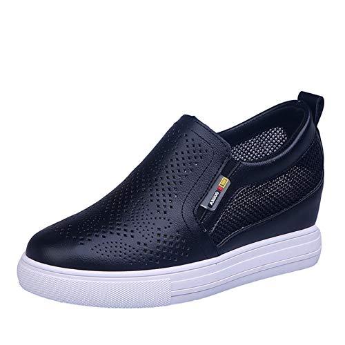 Zapatos de cuña para Mujer, Zapatos Deportivos Antideslizantes de tacón Oculto Transpirables Huecos, Zapatos Casuales de Color Puro para Caminar Diariamente para Mujer