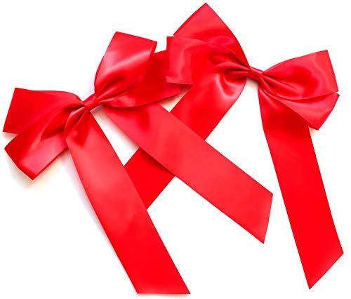 2 Stück Große Satinschleife 20 x 30 cm ,Geschenkschleife,Dekoschleife,Satin, Schleife (2 Stück Rot)