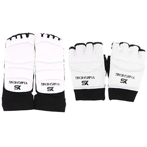 Tubayia 1 par de mitones protectores de manos + 1 par de protectores de pies para taekwondo, artes marciales, deportes de lucha